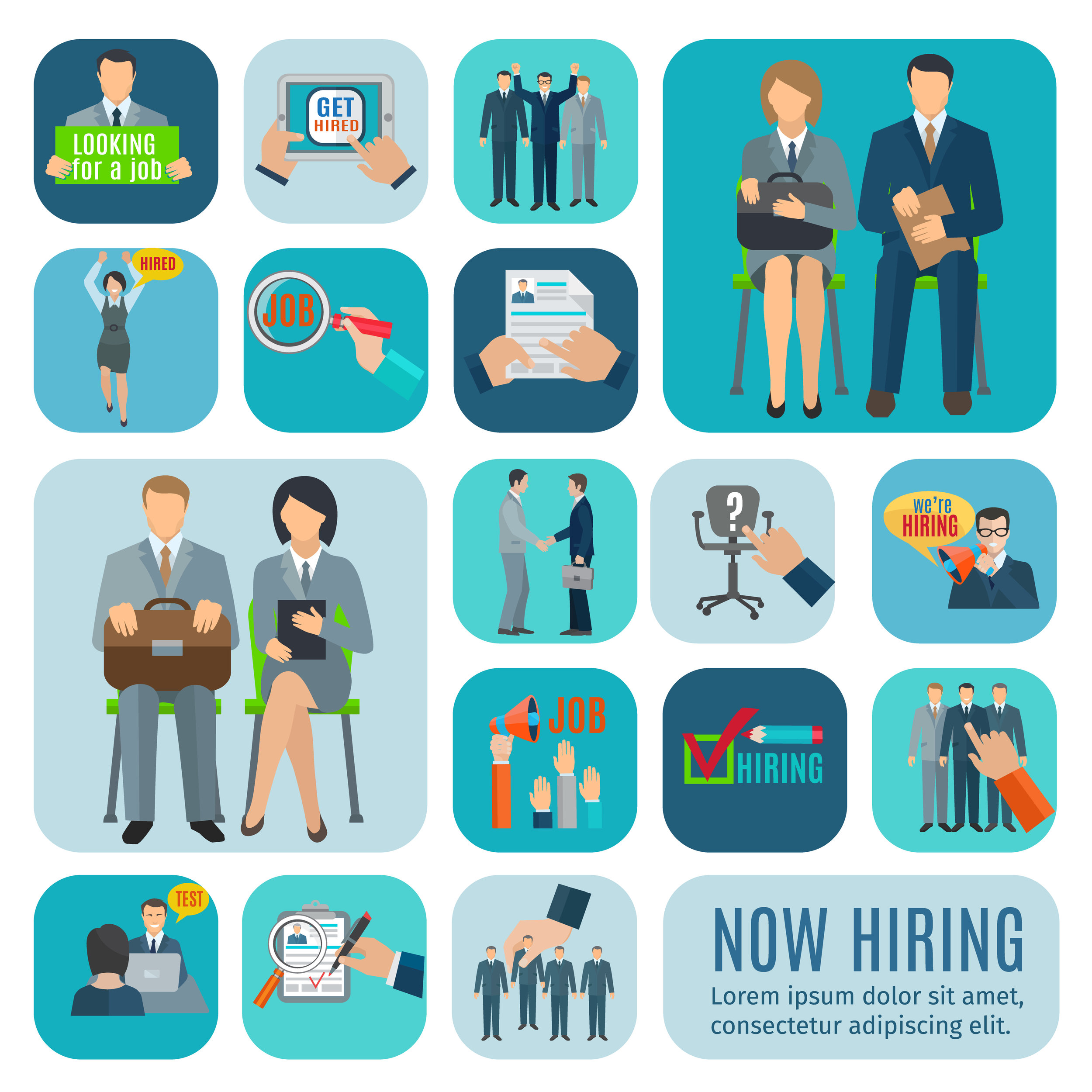 Illustration of hiring and the recruiting interview, selection, and testing.