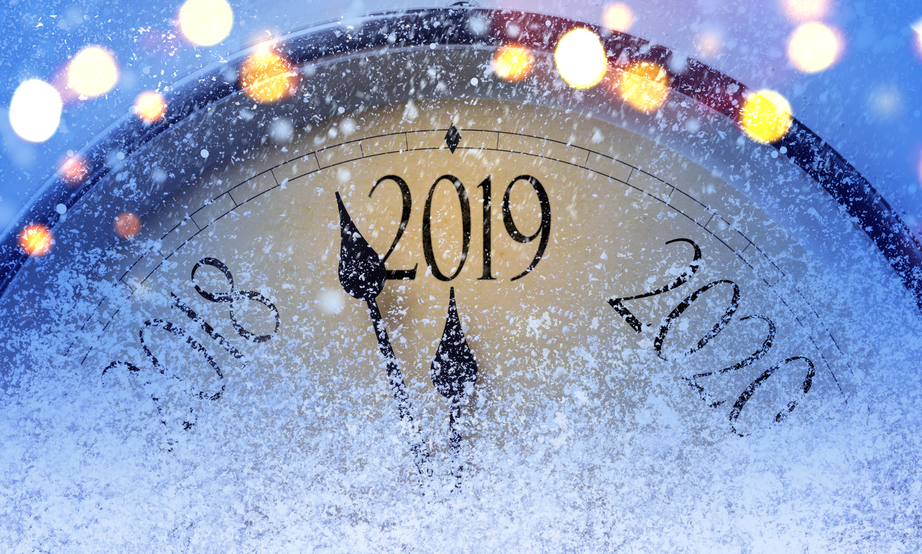 """New Year's """"clock"""" with the time about to get to 2019."""