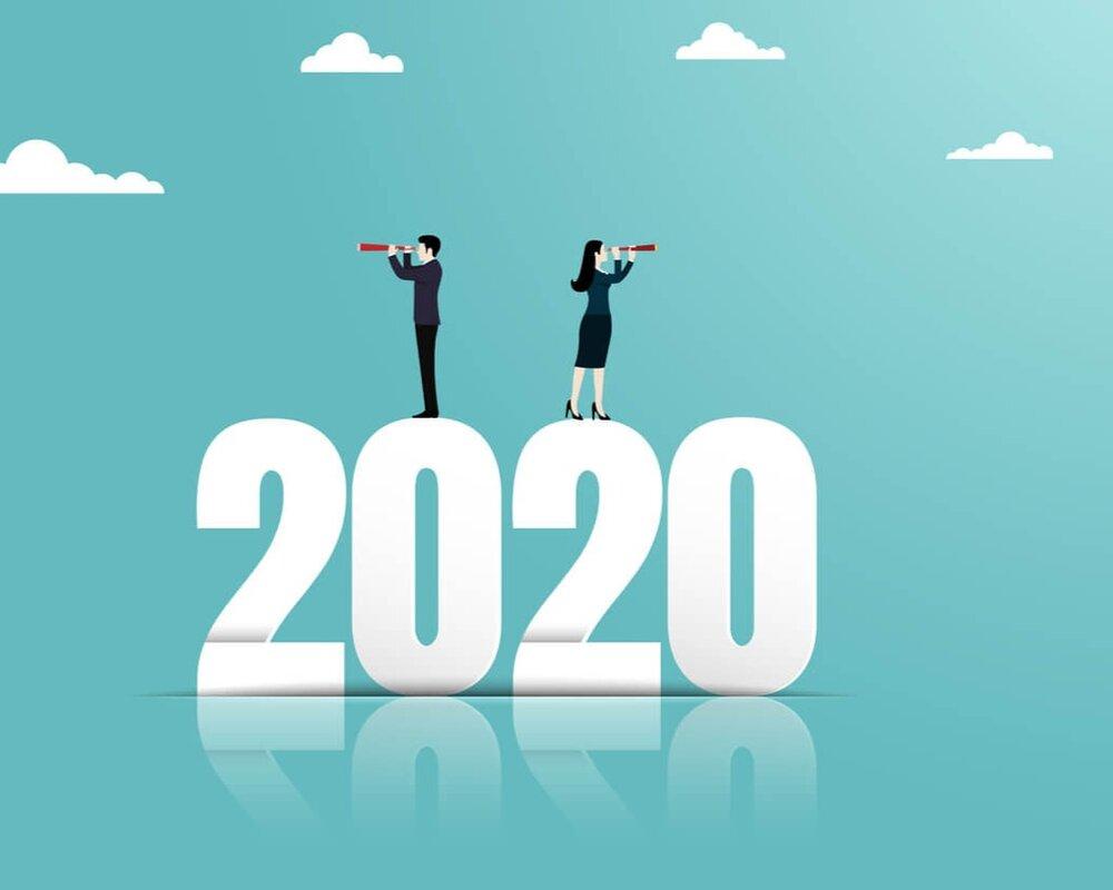 illustration 2020 people looking telescope