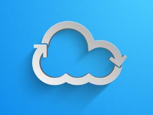 Blue cloud graphic. SaaS cloud.
